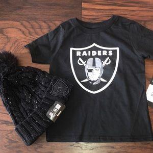 Bundle: NFL Raiders Women Beanie and Toddler shirt